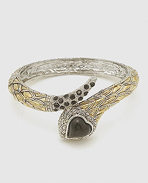 Heart Snake Textured Hinged Bangle
