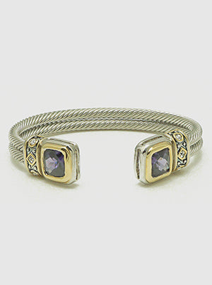 Cushion Amethyst, Two-Tone Gold Accents, Double Cable Twist, Cuff Bracelet