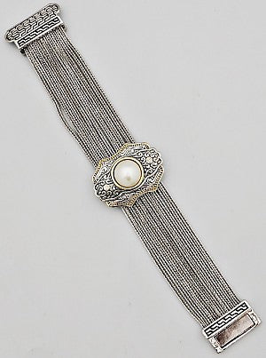 Pearl Filigree Multi-Chain Magnetic Bracelet