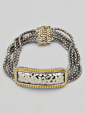 Hammered Metal Multi-Strand Box Chain Magnetic Closure Bracelet