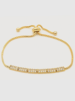 Gold Pavé Rectangle Slider Bracelet