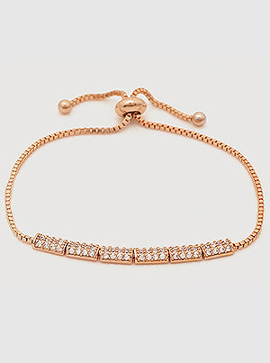 Rose Gold Pavé Rectangle Slider Bracelet