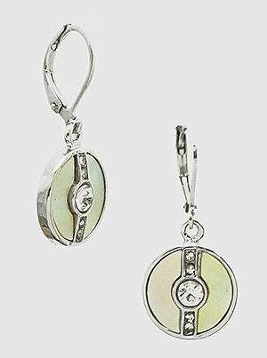 Silver Shell Disc Drop Earrings