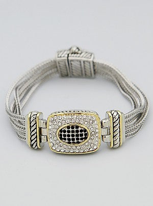 Pavé Black & White Rectangle Multi-Chain Magnetic Bracelet