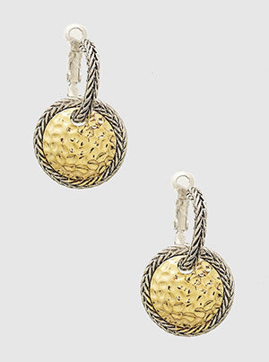 Hammered Gold Disc Drop Earrings