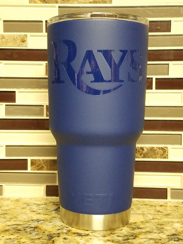 Tampa Bay Rays Blue Matte/Glossy Tumbler (20 or 30 oz Powder Coated) - FREE SHIPPING
