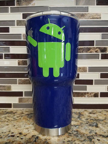 Android Eating an Apple Tumbler (20 or 30 oz Powder Coated) FREE SHIPPING