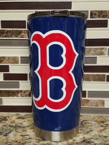 "Boston Red Sox ""B"" Tumbler (20 or 30 oz Powder Coated) FREE SHIPPING"
