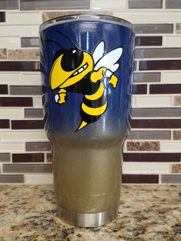 Georgia Tech Navy & Gold Tumbler  (Powder Coated 20 or 30 oz) - FREE SHIPPING