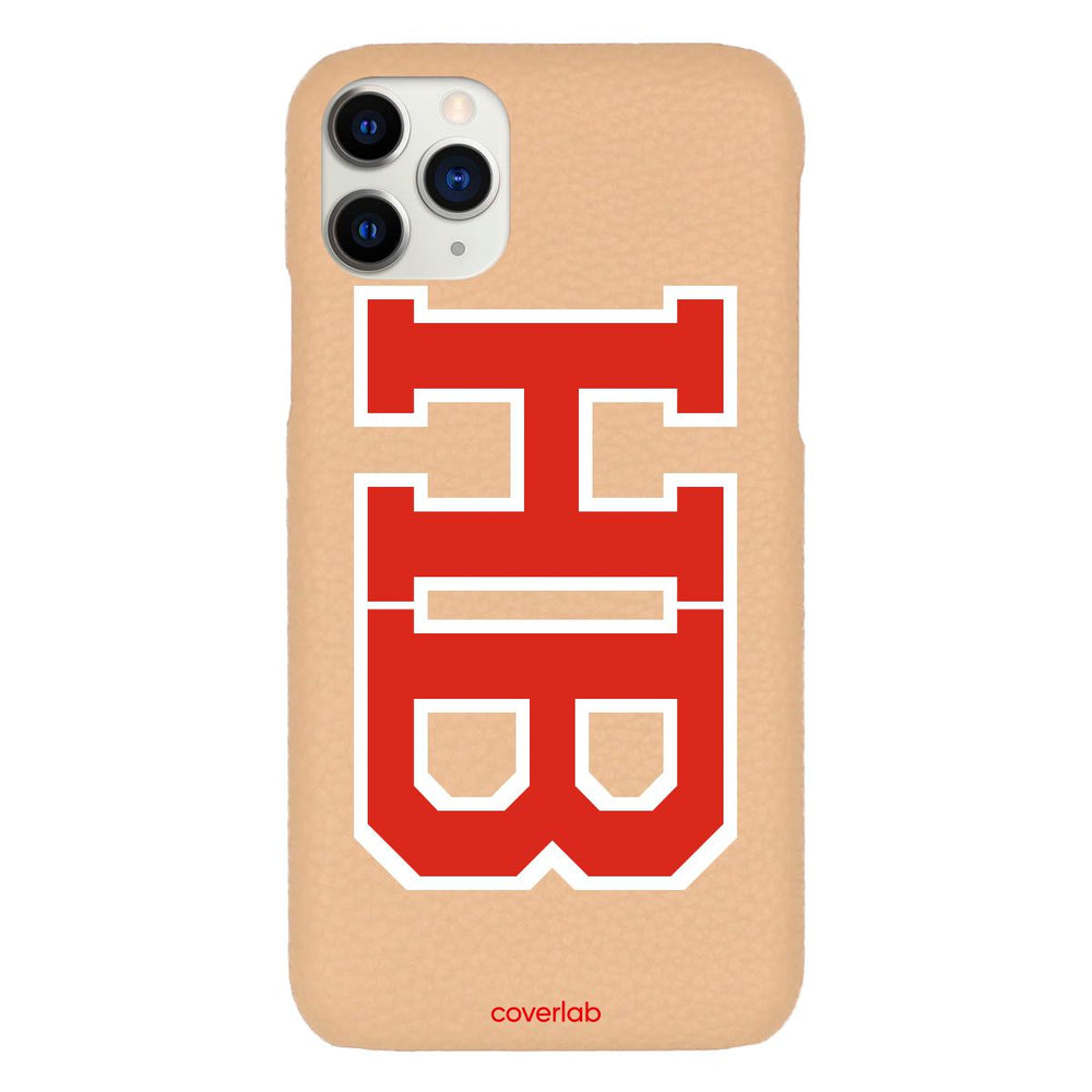BIG Custom Varsity Initials Beige Pebbled iPhone Case - Coverlab