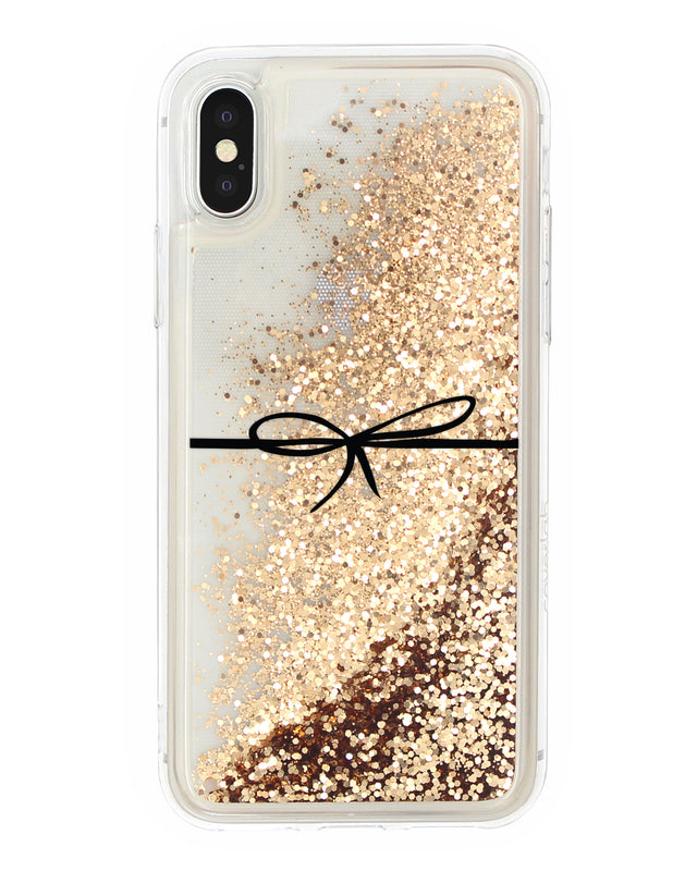 Cover Glitter Fiocco Nero iPhone - Coverlab