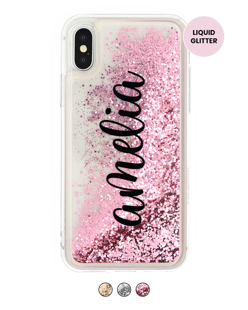 Vertical Handwritten Custom Name Glitter iPhone Case - Coverlab