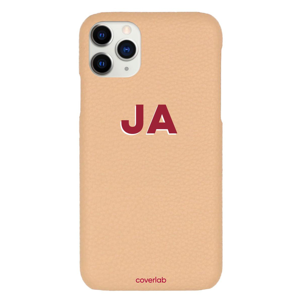 Custom Bold Initials Beige Pebbled iPhone Case - Coverlab