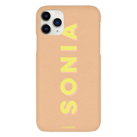 Custom Bold Name Beige Pebbled iPhone Case - Coverlab