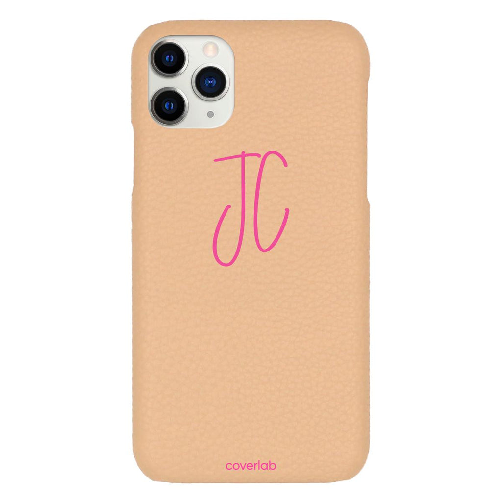 Custom Cursive Initials Beige Pebbled iPhone Case - Coverlab