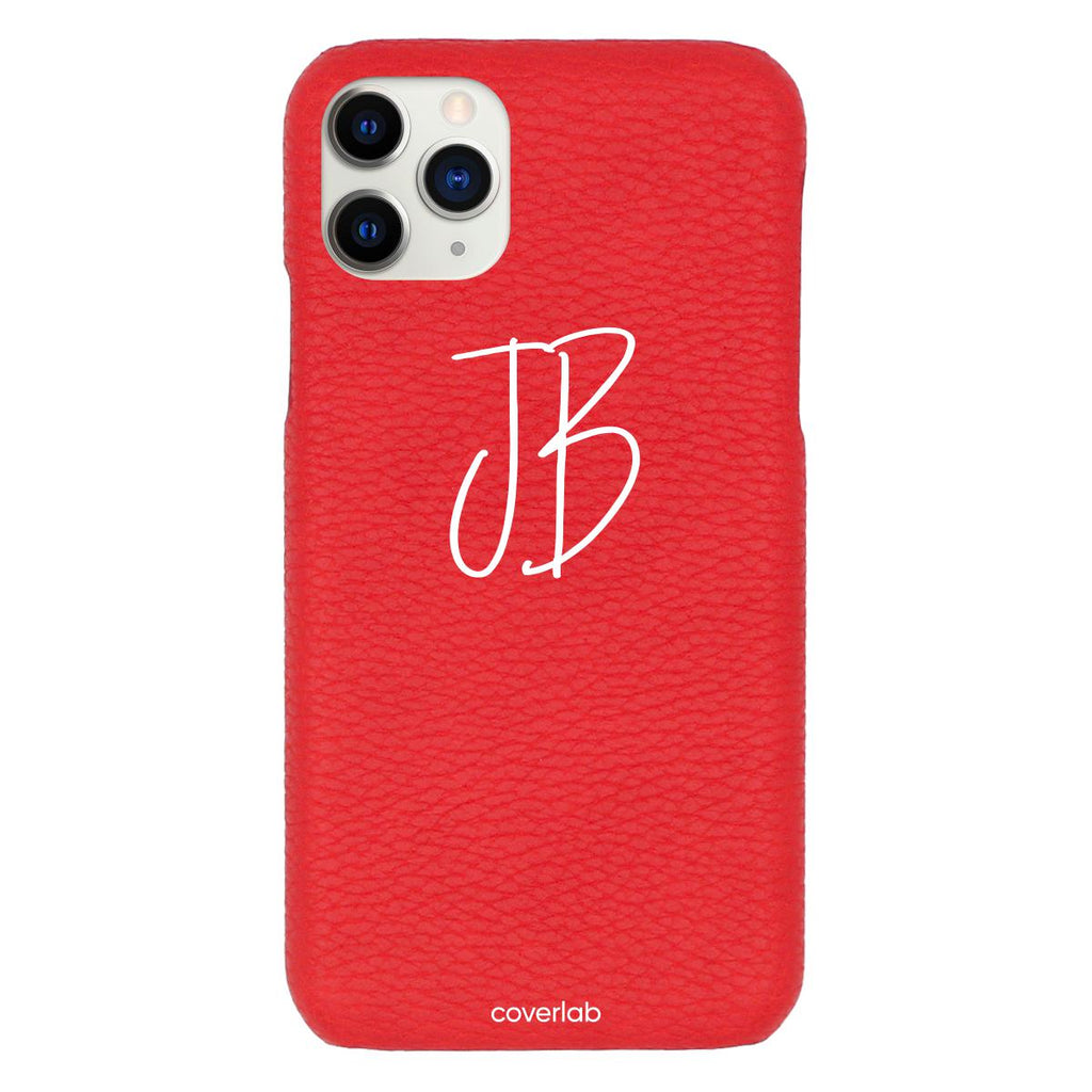 Custom Cursive Initials Red Pebbled iPhone Case - Coverlab