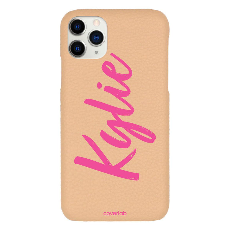 Custom Cursive Name Beige Pebbled iPhone Case