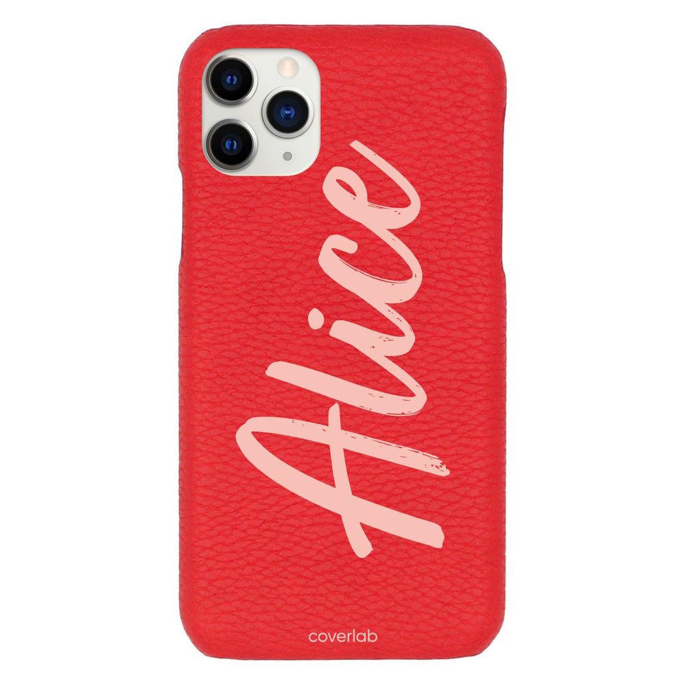 Custom Cursive Name Red Pebbled iPhone Case - Coverlab