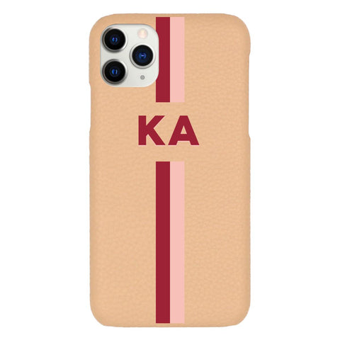 Custom Initials Stripes Beige Pebbled iPhone Case - Coverlab