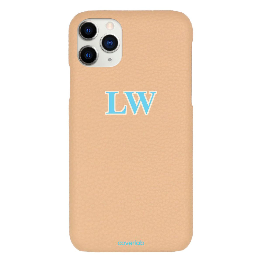 Custom Serif Initials Beige Pebbled iPhone Case - Coverlab