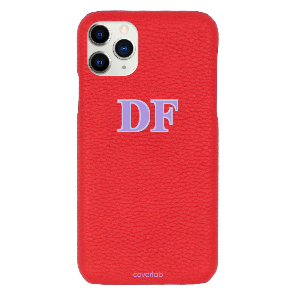 Custom Serif Initials Red Pebbled iPhone Case - Coverlab