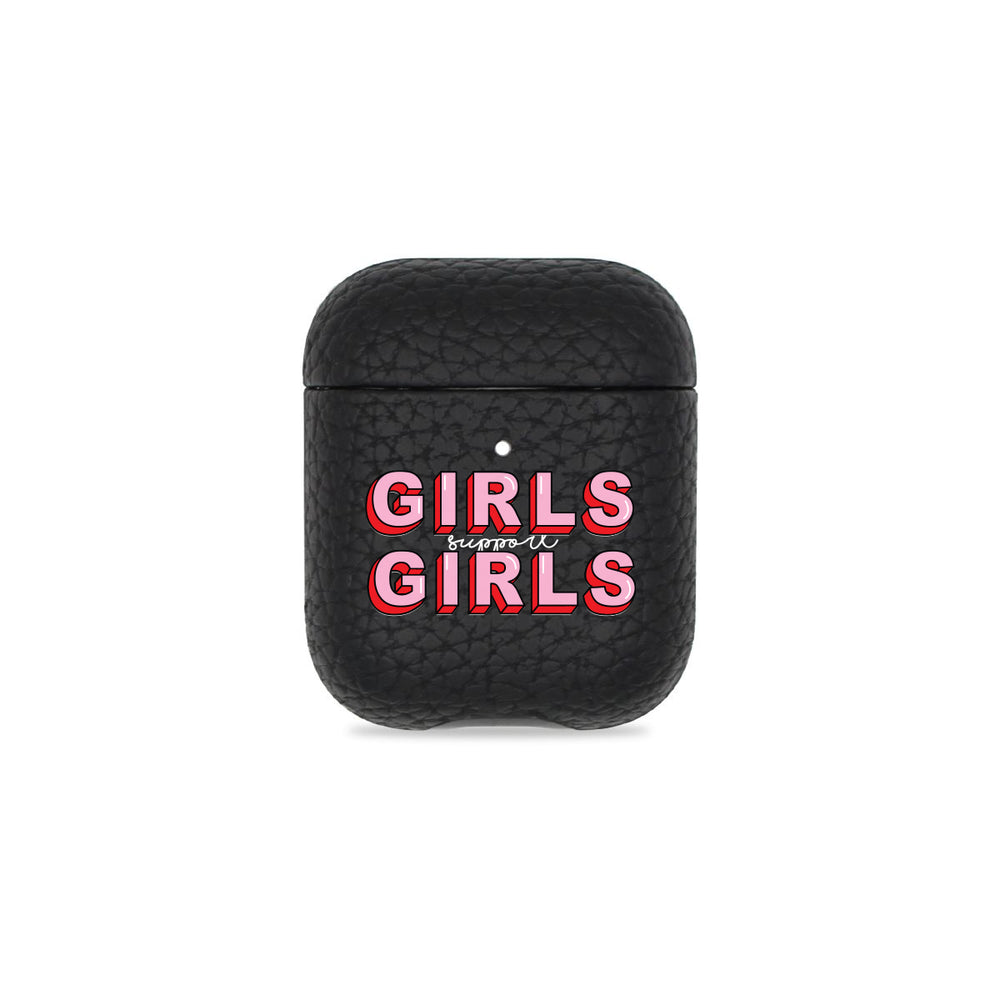 Girls Support Girls Black Pebbled AirPods Case