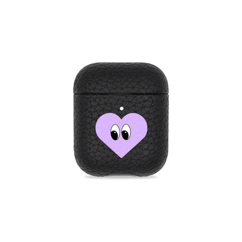 Heart With Eyes Black Pebbled AirPods Case