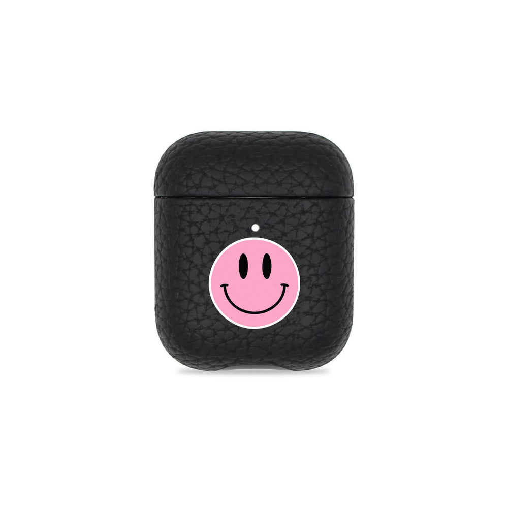 Smiley Face Black Pebbled AirPods Case