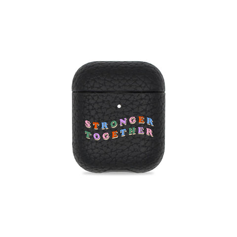 Stronger Together Black Pebbled AirPods Case
