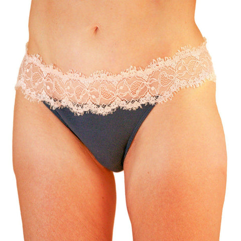Stretch Cotton & Lace Thong