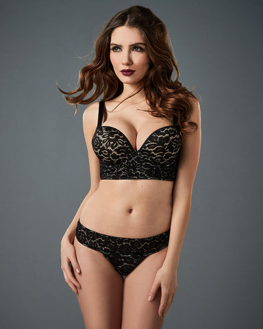 Regime Black Lace Push Up Bra