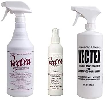 Vectra 32 oz. Furniture, Carpet and Fabric Protector, Vectex 32 oz. Spot Remover, AND Vectra Protector for Shoes, Handbags, and Apparel