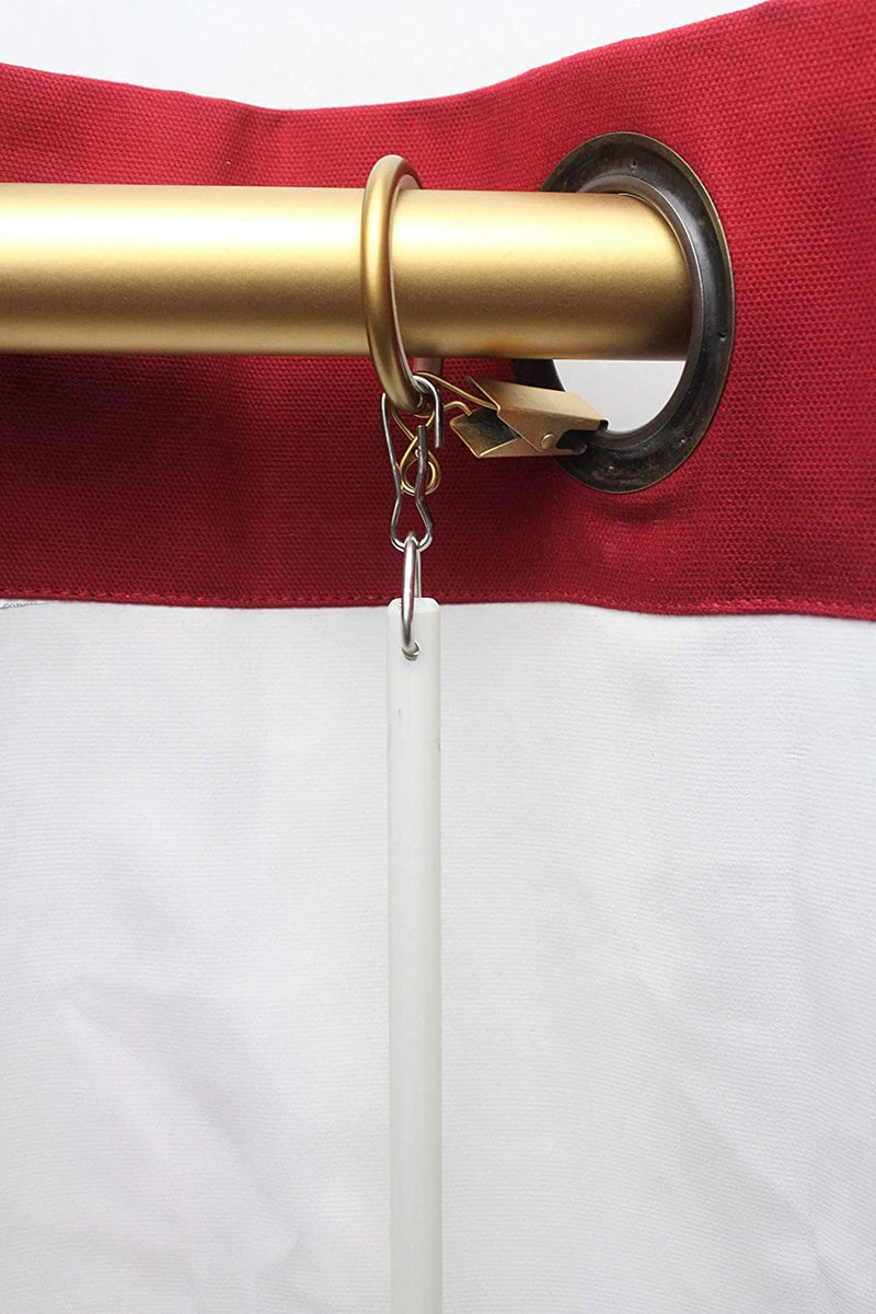 36 inch White Fiberglass Universal Grommet Drapery Rod- Choice of Ring Finish Matte Gold