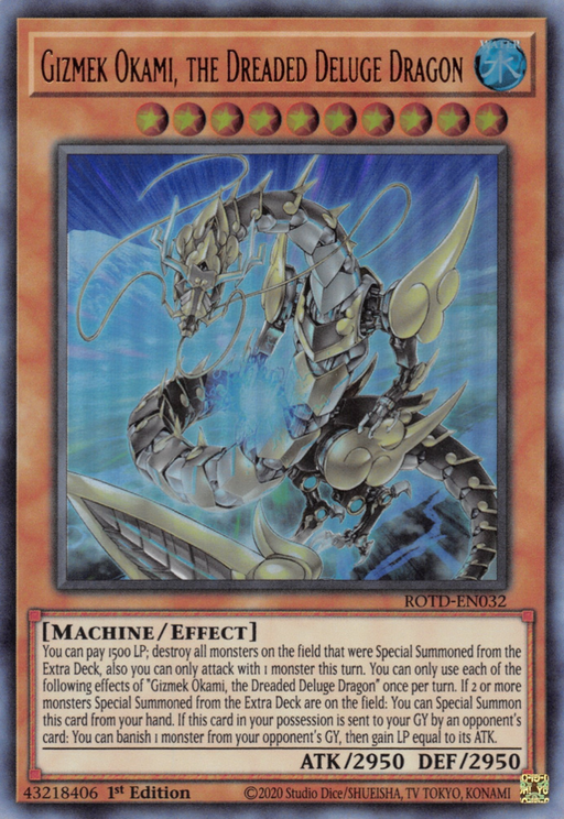 Gizmek Okami, the Dreaded Deluge Dragon / Common - ROTD-EN032 - 1st