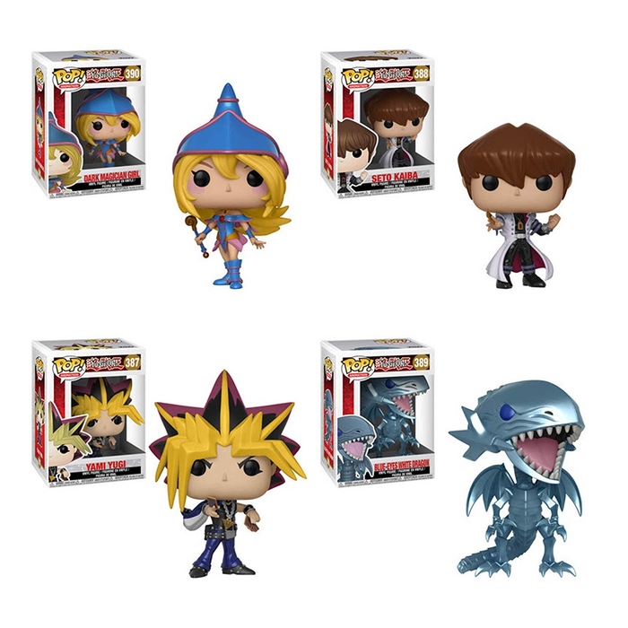 POP Animation: Yu-Gi-Oh! Yami Yugi, Seto Kaiba, Blue-Eyes White Dragon and Dark Magician Girl Vinyl Figures Set [FREE SHIP IN USA]