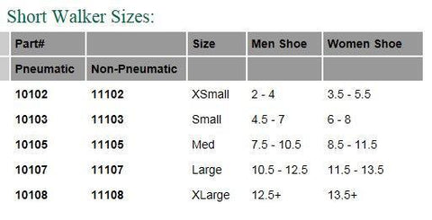 Aircast Boot Size Chart