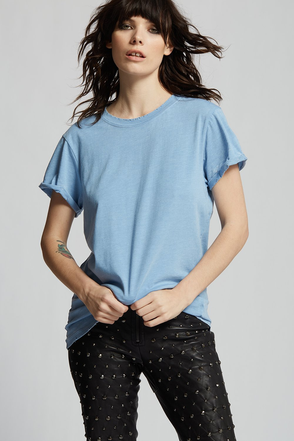 Washed Denim Distressed Tee