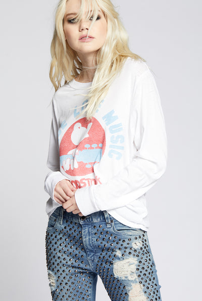 Woodstock Peace Love Music Long Sleeve Tee