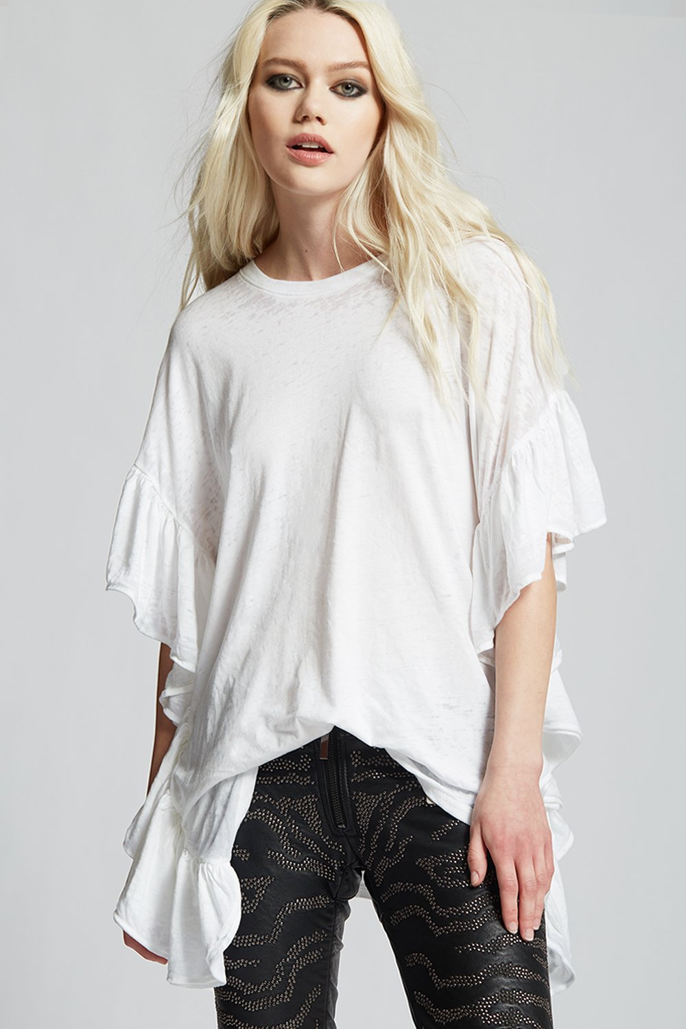 White Distressed Ruffle Tee