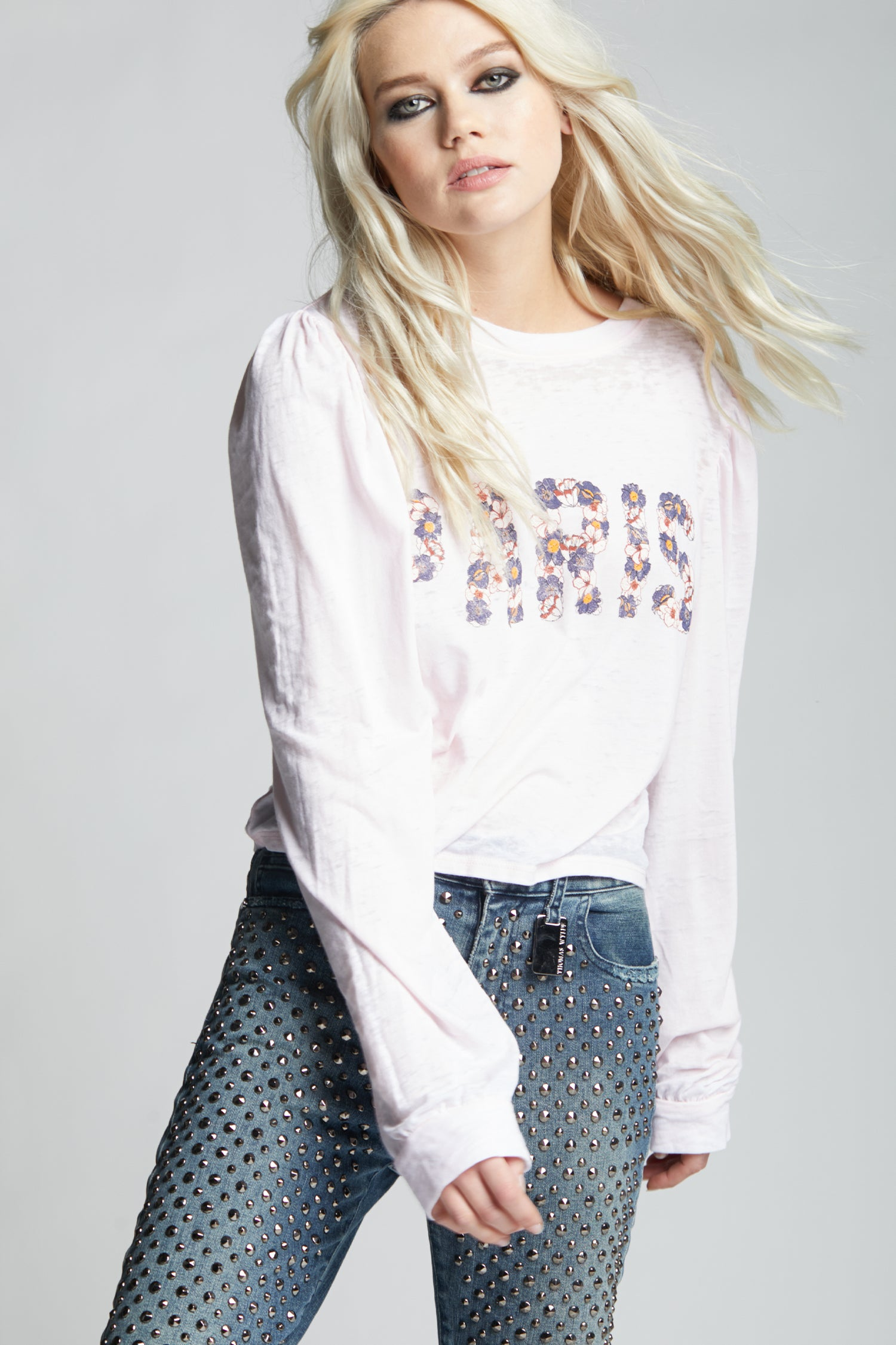 Paris Floral Puff Sleeve Tee