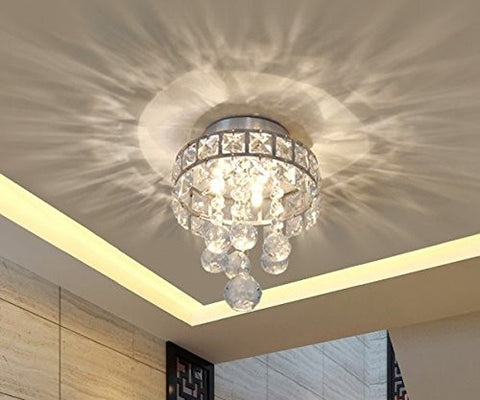 Mini Style 3 Light Chrome Finish Crystal Chandelier Pendent For HallwayBedroom