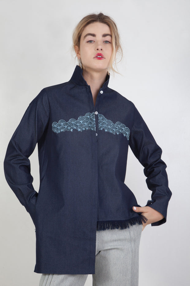 Asymmetrical Mandarin Shirt With Embroidery