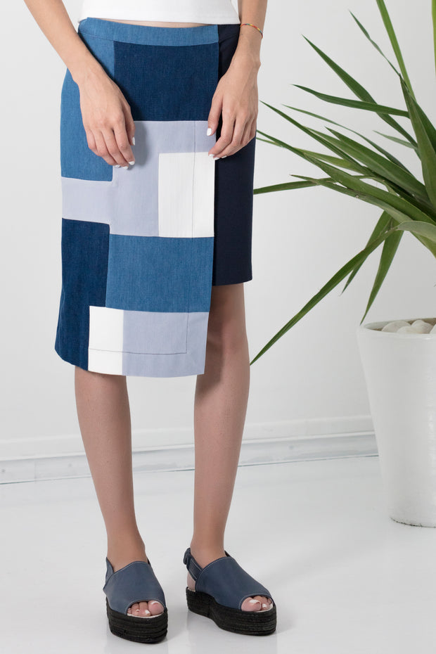 Asymmetrical patchwork skirt