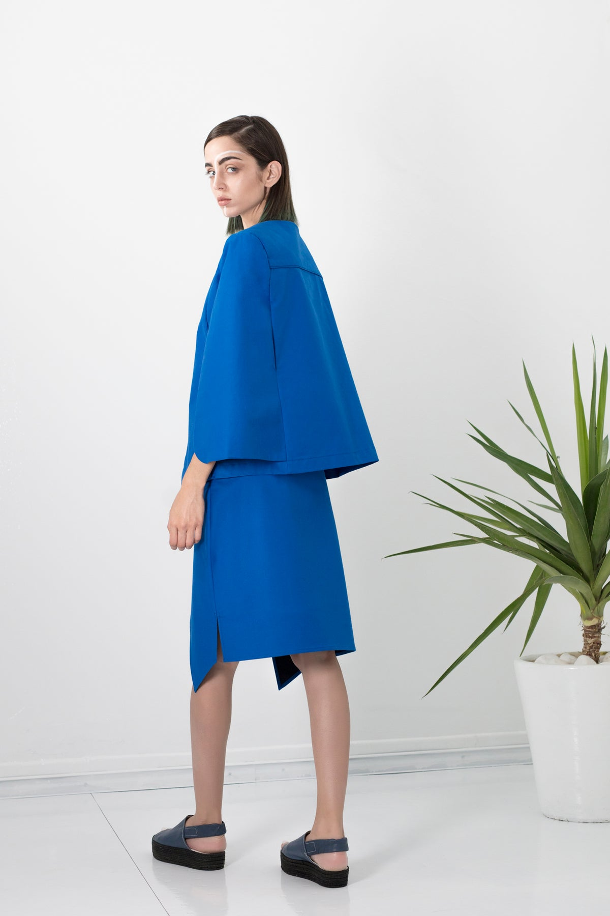Electric blue cape jacket