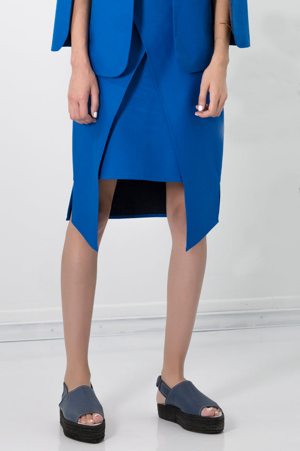 Electric blue wrap skirt