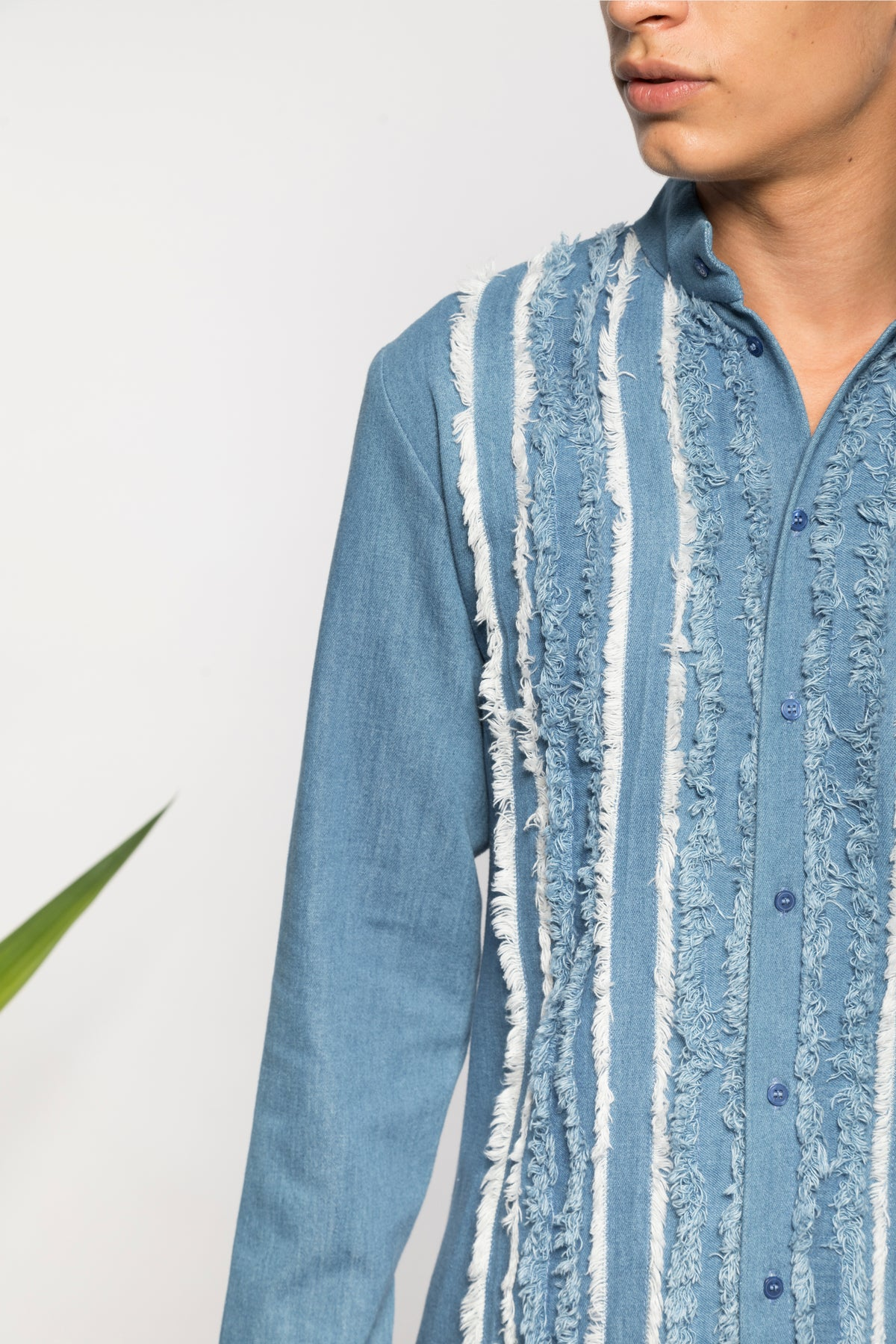 Frayed denim shirt