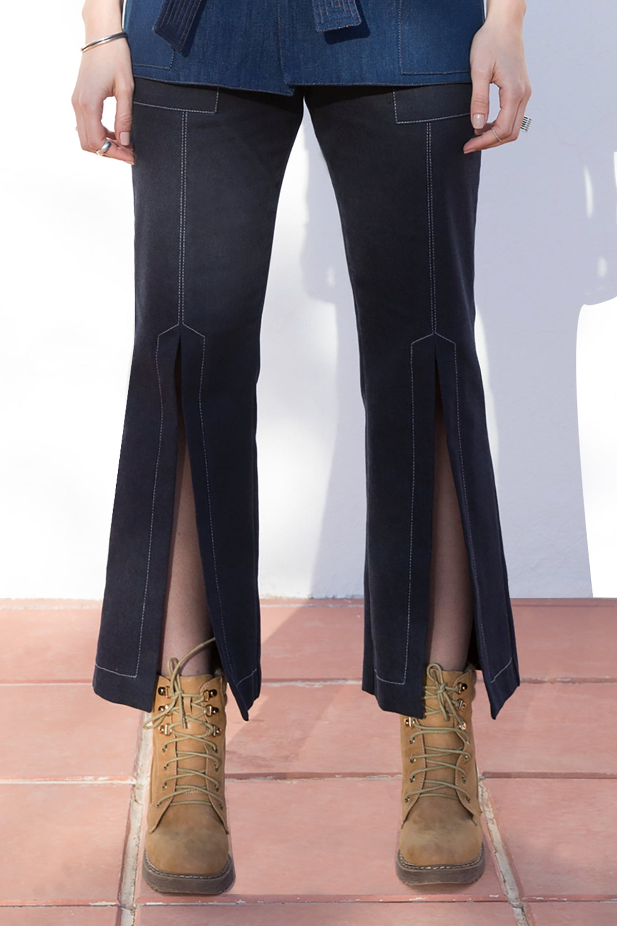 Front Slit Pants With Topstitching