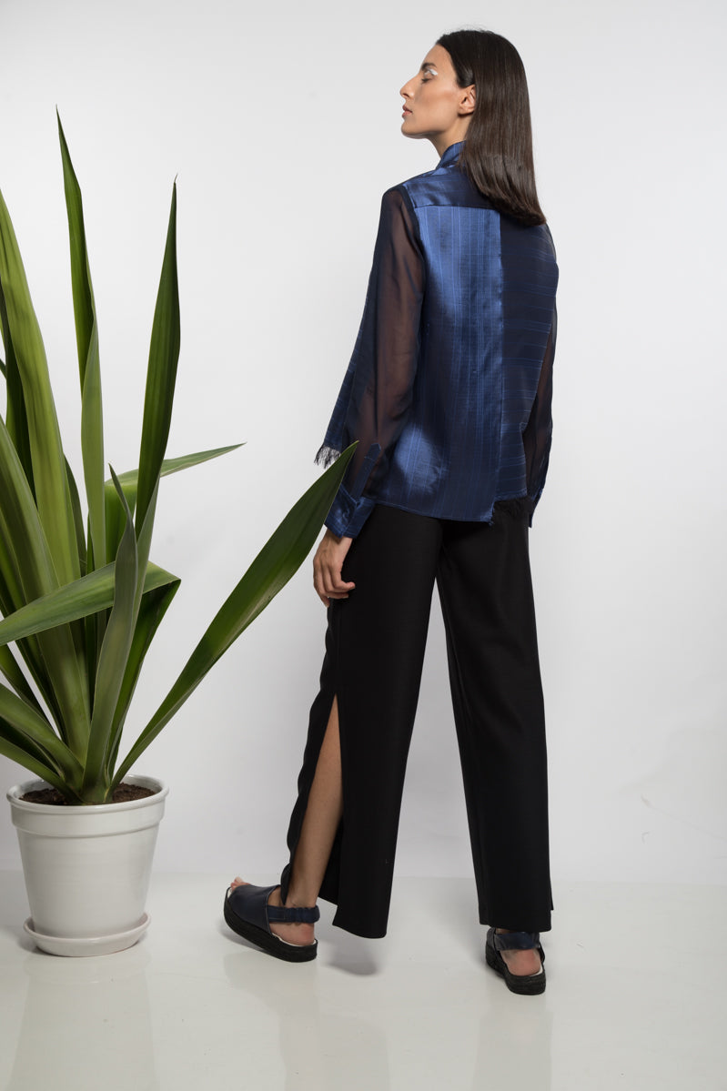 Asymmetrical mandarin shirt with organza sleeve