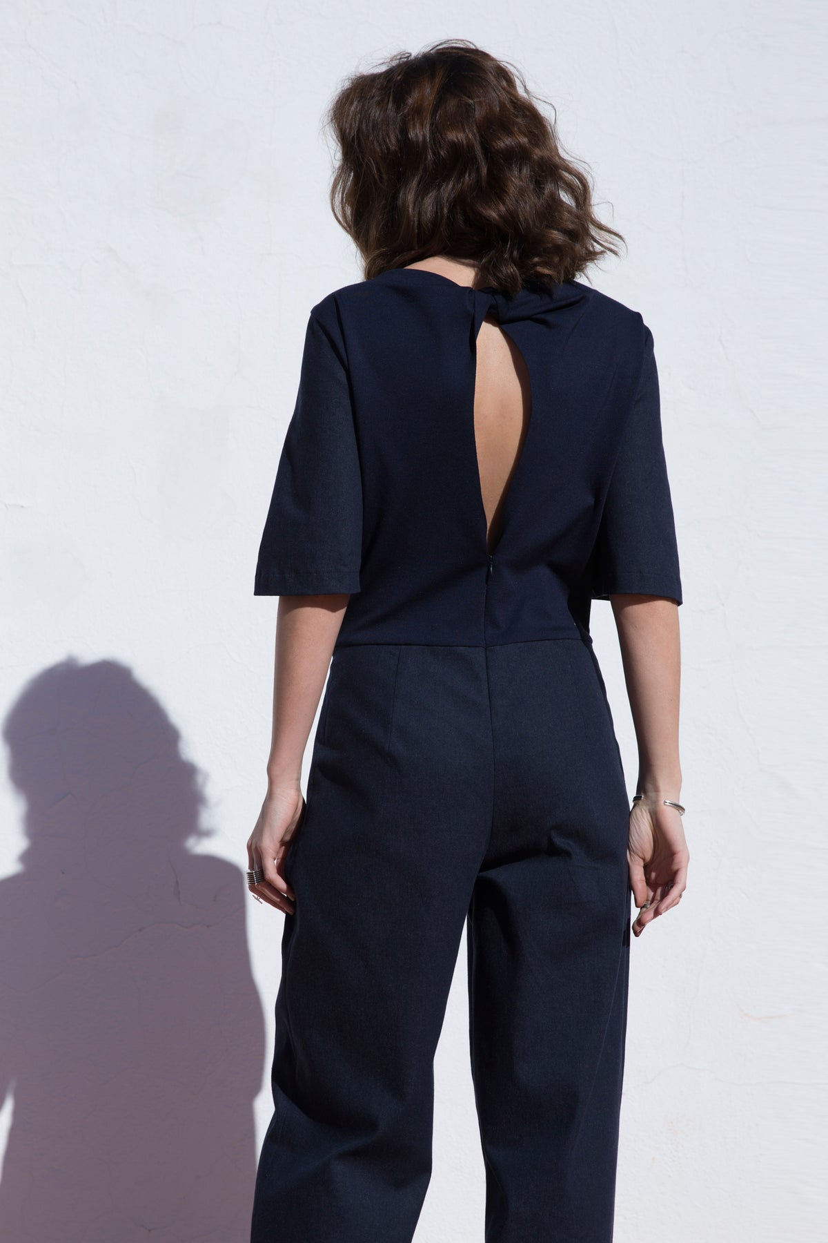 Jumpsuit With Half Sleeves And Twisted Back