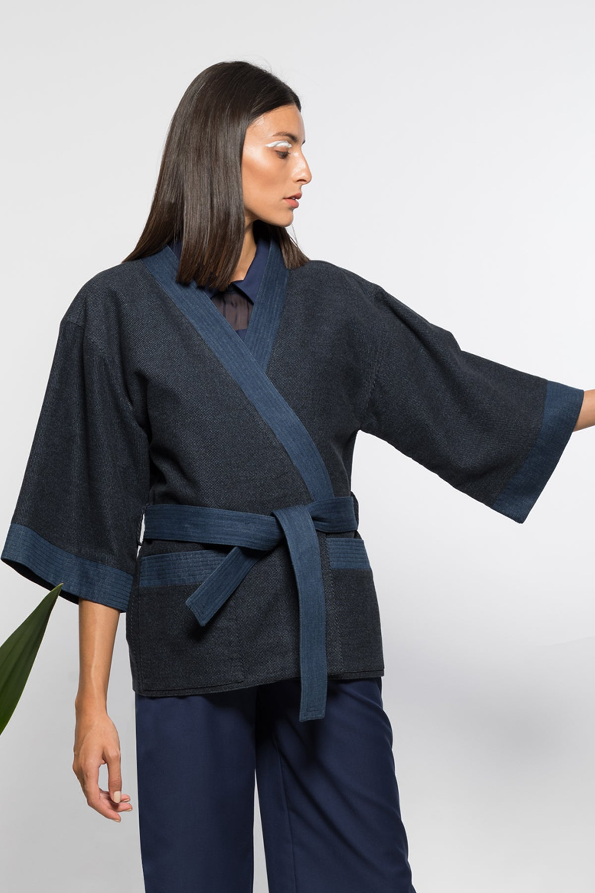 Keikogi jacket in wool and denim